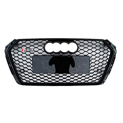 Xinshuo ABS Honingraat Type Mesh Front Radiator Grille voor RS4 Stijl A4/S4 B9 2017-2018#1 Black Emblem