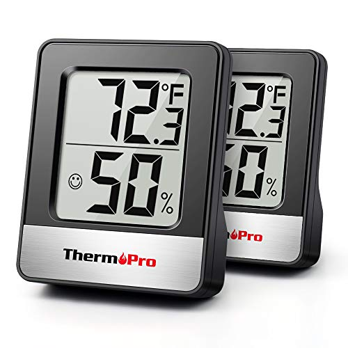 ThermoPro TP49 2 Pieces Digital Hygrometer Indoor Thermometer Humidity Meter Room Thermometer with Temperature and Humidity Monitor Mini Hygrometer Thermometer Black