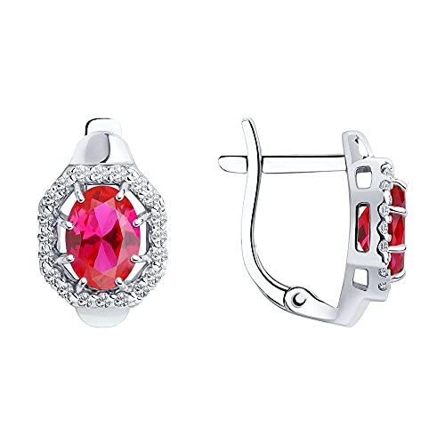 Mirkada - Pendientes de plata para mujer, con rubí y circonitas, color rosa