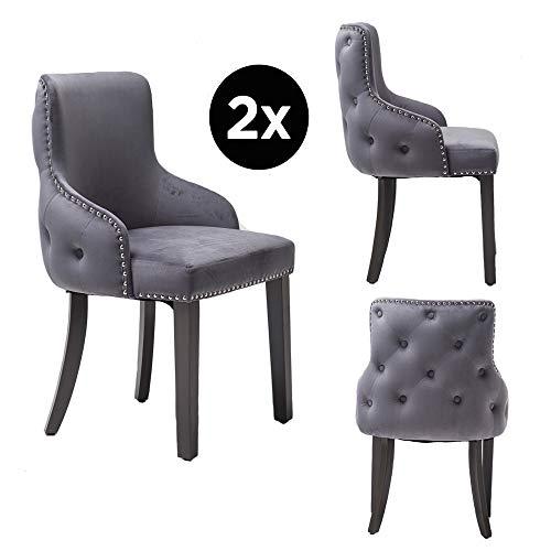 PS Global Ensemble de 2 chaises de salle à manger de luxe Grace, clous chromés faciles à assembler, dossier capitonné, dossier profond, velours en peluche neuf (gris foncé)