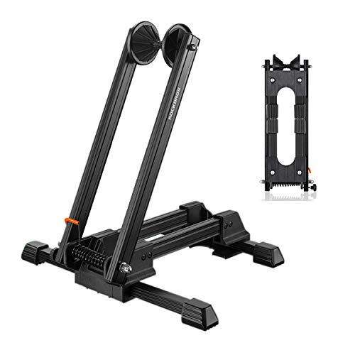 Clothink Foldable Bicycle Storage Stand Bike Floor Parking Rack Wheel Holder for Garage Indoor for Mountain and Road Bike