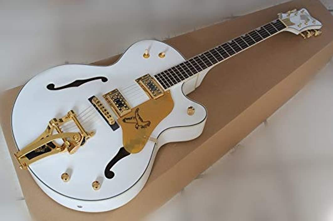 Factory custom white semi-hollow electric guitar with thick body and double 3-way switch,and can be made as your request