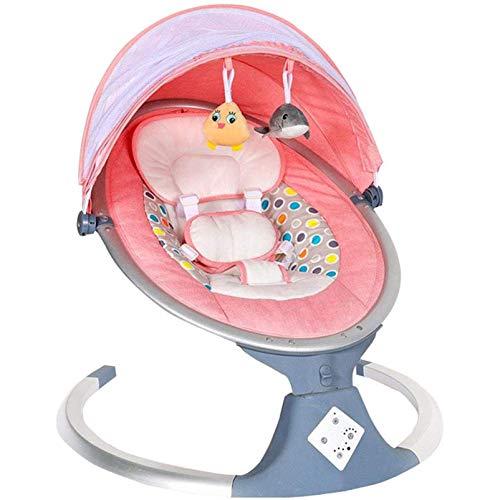 FQCD Bebe Transat Elettrico con Telecomando, Baby Swing, 5 velocità di Oscillazione, Transat Bambino con Diffusore Musicale Intelligente Bluetooth,Rosa