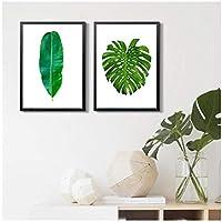 """植物のキャンバスの絵画、ポスターとプリントネイチャーグリーンリーフウォールアートの写真、リビングルームの家の装飾11.8"""" X15.7""""(30x40cm)フレームなし2個"""