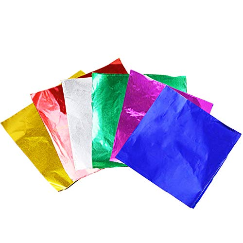 Anyasen 600 Pezzi Fogli Carta da Imballaggio in Foglio Alluminio Stagnola Quadrate Schermo Regalo Carta Alimentare Carta da Regalo per Caramelle e cioccolatini Cioccolato Candy(6 Colori)