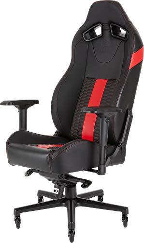 Corsair T2 Road Warrior - Silla de oficina, para videojuegos, Polipiel, fácil de ensamblar, giratoria ergonómica, altura ajustable y reposabrazos 4D, asiento ancho y cómodo con reclinador alto, Rojo