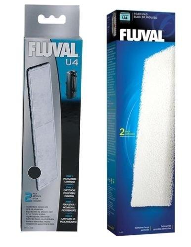 Fluval U4 Aquariumfilter-Einsätze aus Aktivkohle und Schaumstoff, mittel, Doppelpack