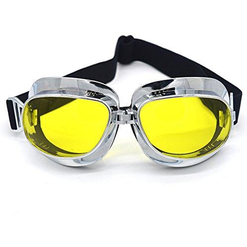 evomosa Motorradbrille Vintage Pilotenbrille Retro Motocrossbrille Outdoor Eyewear Sportbrillen für Halbhelme (Silver Frame Yellow Lens)