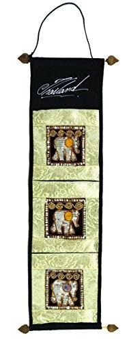 Guru-Shop Brokaatwandtas met 3 Compartimenten uit Thailand - Monster 2, Veelkleurig, Kleur: Beige, 80x17 cm, Wandzakken Wandkleden