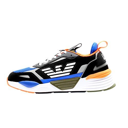 Emporio Armani EA7 Xk165 Zapatillas Moda Hombres Negro/Azul/Naranja - 40 2/3 -...