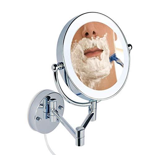LULUDP Badspiegel Badezimmer Vanity Spiegel 8.66' beleuchteter Wandhalterung Makeup-Spiegel mit 03.01/07.05/10-facher Vergrößerung, runder beidseitigen, 360 ° frei drehbar, ausziehbar und verchrom