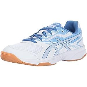 ASICS Women's Upcourt 2 Volleyball Shoe, White/Regatta Blue/Airly Blue, 12 Medium US