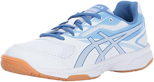 ASICS Women's Upcourt 2 Volleyball Shoe, White/Regatta Blue/Airly Blue, 8 Medium US