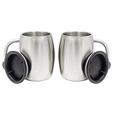Set of 2 II 14-Oz Double Wall Vacuum Sealed Insulated Tea/Coffee Mugs with Splash Resistant Lid || Premium Food Grade 18/8 Stainless Steel || BPA-Free by AAQ Home & Kitchen