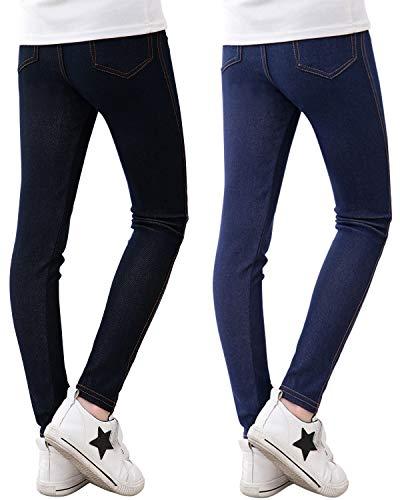 Adorel Leggings Vaqueros Pantalones Elástico Niña Pack de 2 Negro y Azul Marino 9-10 Años (Tamaño del Fabricante 150)