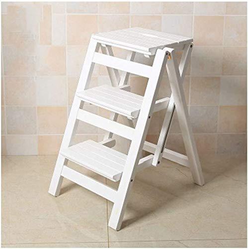 GDFEH Escalones de madera de 3 peldaños multifunción plegable escalones escalera plegable escalera ligera taburete de cocina
