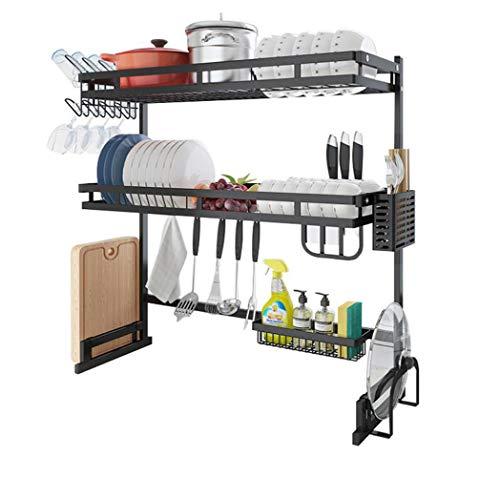 Estante de secado de platos sobre el fregadero, estante de almacenamiento para encimera, ahorro de espacio, escurridor organizador de utensilios de cocina, de acero inoxidable,...