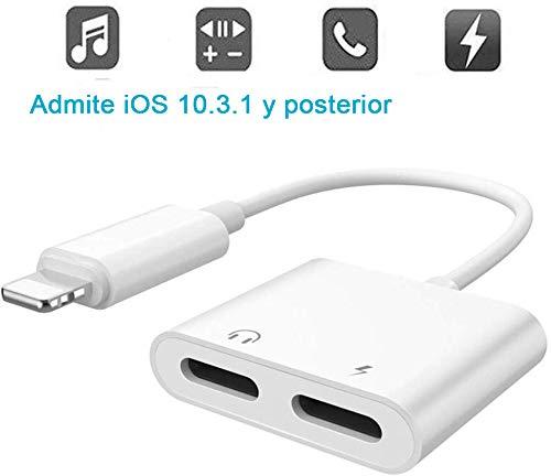 2 en 1 Adaptador de Auriculares para iPhone Cargador de Coche Adaptador...