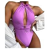 Snakell Mono de Mujer Push-Up Bikini de Playa Traje de Baño de Una Pieza Conjunto de Bikini Color Sólido, Conjunto de Bikini de Tirantes Siameses para Mujer Push Up Ropa de Playa