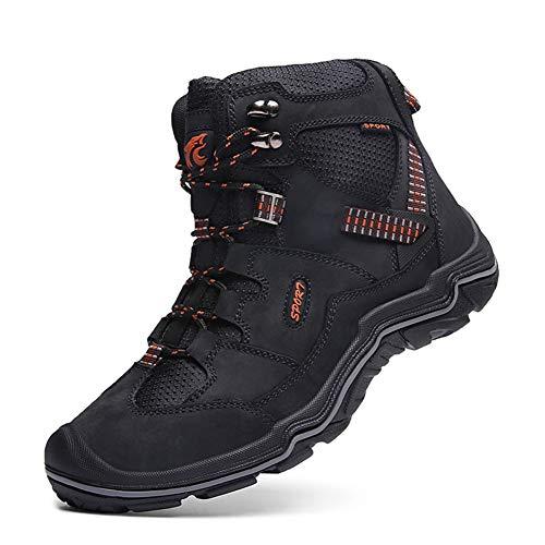 WOJIAO Botas de Senderismo de Trekking para Hombres Caminata Transpirable Impermeable al Aire Libre Zapatos de Tacón Alto Zapatillas Oxford
