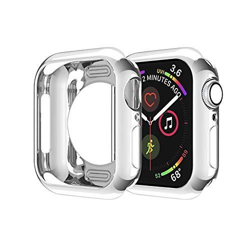 MroTech Cover Compatibile con Apple Watch 40 mm Custodia TPU Case Protettiva Thin Fit Cover per iWatch 40mm 4 5 6/SE Serie Protezione Flessibile Custodia Bumper Shell Protector Anti-Graffio,Argento