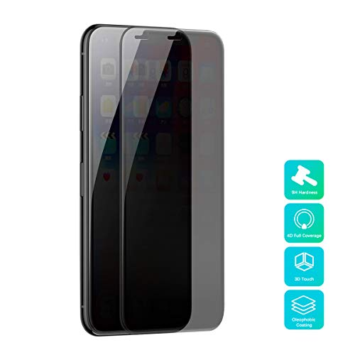 Protector de pantalla de privacidad Compatible con iPhone Xs Max 6.5 pulgadas, Baseus 0.3mm Vidrio templado Cobertura total Película anti-pío, Anti-arañazos, Película de privacidad anti-espía