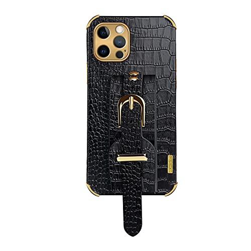 Junbujian Caso para Funda de Cuero PU para iPhone 6/6S con patrón de cocodrilo, Soporte para muñequera- Negro