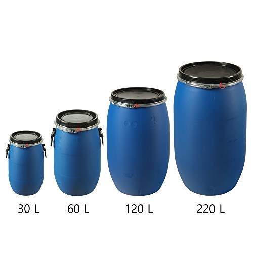 Gamme Agrifournitures.fr Fût Plastique Alimentaire Bleu à Ouverture Totale