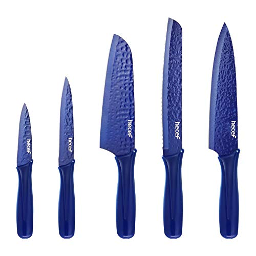 Hecef Kitchen Knife Set of 5, Non-Slip Metallic Ceramic Coated Chef Knife Set, Hammered Blade with Plastic Handle and Protective Blade Sheath