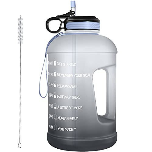 1 Gallon Water Bottle with Straw & Straw Brush, Motivational Water Bottle with Time Marker and Handle, BPA Free Anti-slip Leakproof Water Jug for Fitness, Gym and Outdoor Sports(Black)