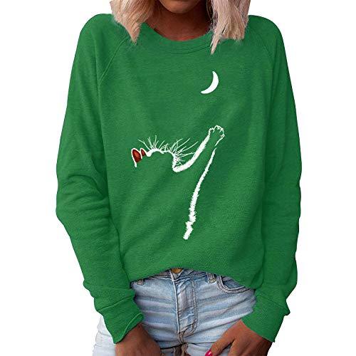Yowablo Sweatshirt Damen Vintage Frauen Pullover Langarm Rundhals Lose Casual Tops Bluse Top Frauen Tier Katze Print O Hals Lose Pullover Langarm Casual (S,1Grün)