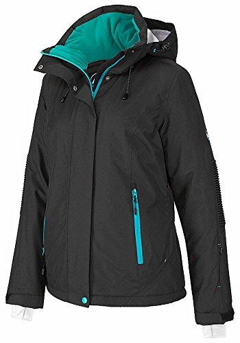 Polarino Skijacke schwarz Wasserdicht atmungsaktiv winddicht Wassersäule 3000mm (Schwarz, 38)
