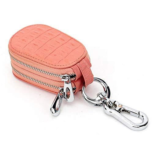 YXSMQC Lederen autosleutel portemonnee heren en dames sleutelhanger met dubbele rits
