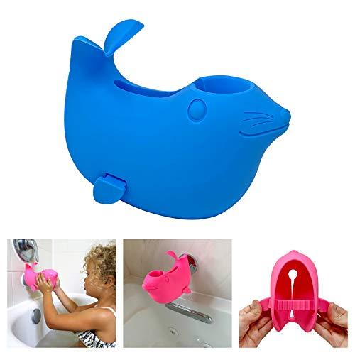 Couvercle de bec de baignoire pour enfants et bébés – Protection de robinet pour une baignoire pour enfants et bébés – Joint souple mignon pour des bains agréables et sûrs pour votre enfant (Bleu)