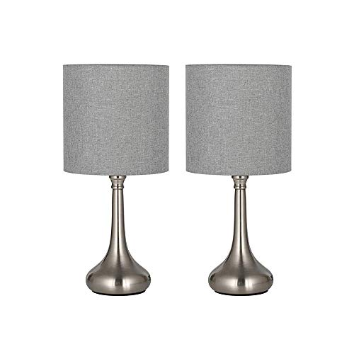 Moderna lámpara de mesa – Pequeña lámpara de mesita de noche, juego de 2, lámparas de mesita de noche para dormitorio, oficina, salón, plata