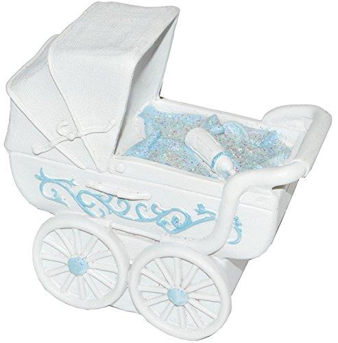 alles-meine.de GmbH Spardose Kinderwagen - blau für Baby ´s Jungen - stabile Sparbüchse aus Kunstharz - Geldgeschenk Baby zur Geburt Taufe Geld Sparschwein