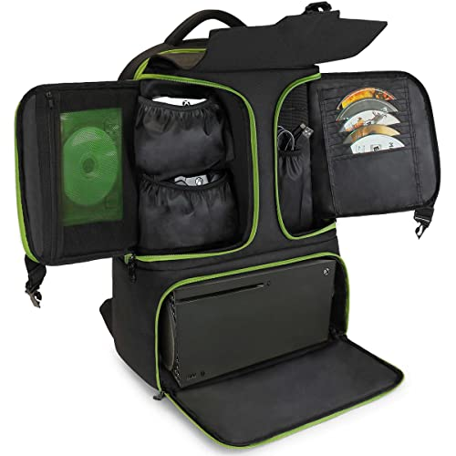 ENHANCE Konsolenspielrucksack Kompatibel Mit Xbox Series X, Xbox Series S - Aufbewahrungsfächer Für Controller, Spiele Und Zubehör - Headset-Aufbewahrung Und Mesh-Taschen Mit Reißverschluss