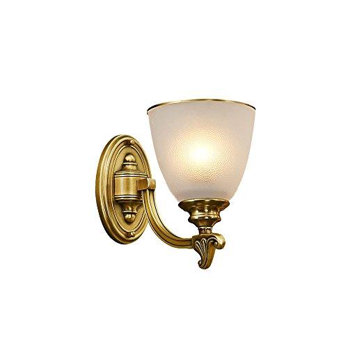 Chen Couche de lampe en verre de style simple pays américain lit de chambre lampe murale en cuivre pleine ( taille : 16*23cm )