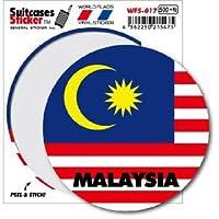 WFS-017 MALAYSIA マレーシア 国旗ステッカー サークル スーツケースステッカー