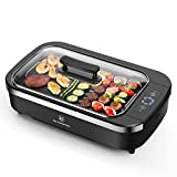 Indoor Smokeless Grill-Electric Grill with Tempered Glass Lid, Removable 2-in-1 Nonstick Grill Plate, Turbo Smoke Extractor Technology, 6 Kinds of Temperature Control, Anti-slip Base,1500W, Black.