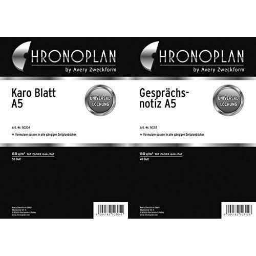Chronoplan 50304 Formulare Karierte Blätter A5, 50 Blatt, weiß & 50312 Formulare Gesprächsnotiz (A5) 40 Blatt, weiß