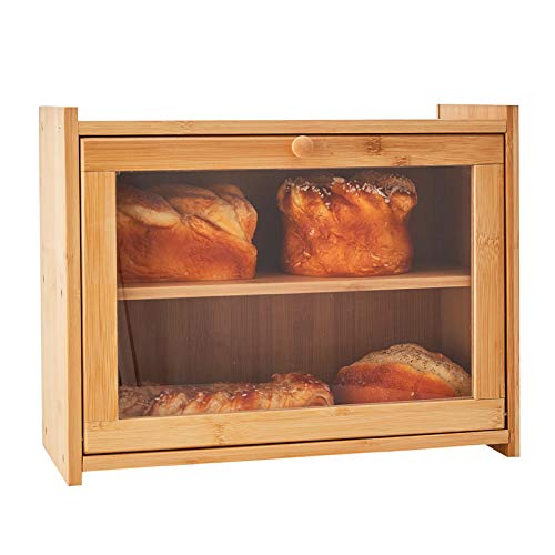 WORTHYEAH Bamboo Bread Box for Kitchen Countertop, 2 Adjustable Layer Breadboxes, Wooden Bread Storage Box with Transparent Window, Kitchen Bread Holder, Large Capacity Bread Boxes