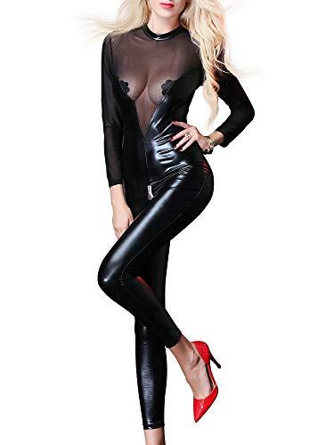 iEFiEL Damen Wetlook Catsuit Ouvert-Body Transparent Netz Ganzkörperanzug Lack Leder Jumpsuit Brustfrei Overall mit Reißverschluss Clubwear Party Kostüm Schwarz XXL