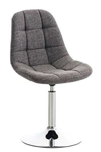 CLP Lounger Emil mit Stoffbezug, Esszimmerstuhl mit gestepptem Sitz, Drehstuhl mit Trompetenfuß in Chromoptik, Farbe:hellgrau