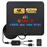 [Advanced 2021 Chip] HDTV Antenna; Long Range 250 Miles Reception, Black Indoor Antenna; Power Amplifier for Signal Boost; 16.5 ft Coaxial Cable; Supports All HD Digital TV formats; Claev USA