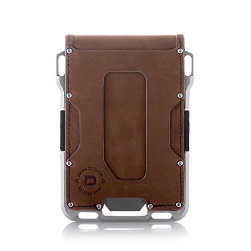 Dango M1 Maverick Bifold EDC Wallet - Made in USA - Genuine Leather, Slim, Minimalist, Metal, RFID...