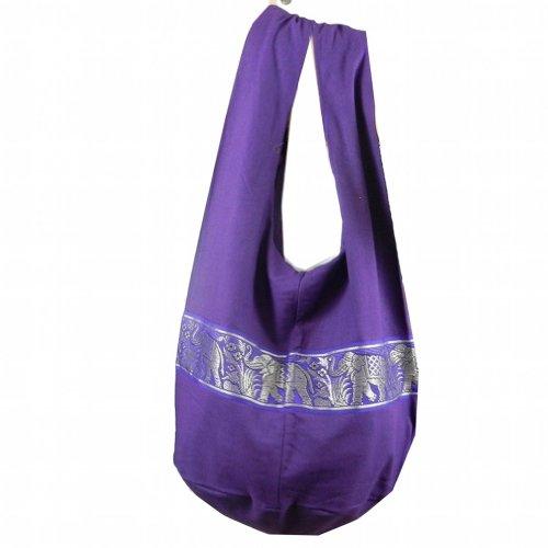 BenThai Products BTP! Hippie Hobo Schultertasche aus Baumwolle, mit Elefantenmotiv, Violett