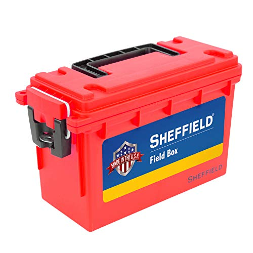 Sheffield 12636 Field Box, Pistol, Rifle, or Shotgun Ammo Storage Box, Tamper-Proof Locking Ammo Can, Water Resistant, Made in The U.S.A, Stackable, Red