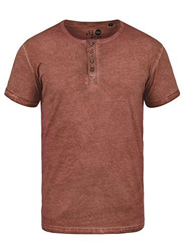 !Solid Tihn Herren T-Shirt Kurzarm Shirt Mit Grandad-Ausschnitt Aus 100% Baumwolle, Größe:L, Farbe:Fox Brown (6792)