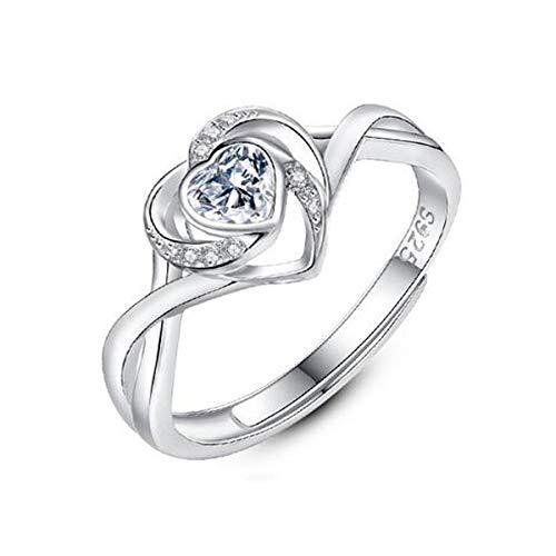 ZNXHNDSH Damas anillo, anillo de plata esterlina S925, Mujer en forma de corazón anillo del Rhinestone, propuesta de matrimonio, Lady Pareja de compromiso de bodas regalo de cumpleaños, regalo de Navi